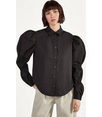 popeline blouse met plooien