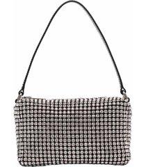 heiress medium pouch, white rhinestone mesh