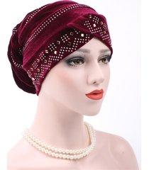 donna casual berretto beanie elastico in velluto d'oro caldo con diamante in tinta unita cappello turbante