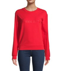 armani jeans women's logo dropped-shoulder sweatshirt - solid bright red - size 42 (8)