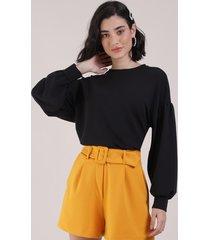 blusão de moletom feminino manga bufante preto