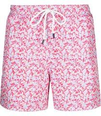 fedeli graphic-print drawstring swim shorts - pink