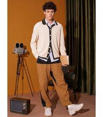 hombre vendimia casual bloque de color de pana pantalones