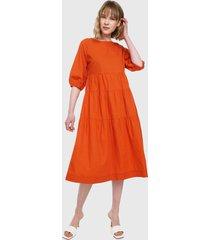 vestido naranja mng
