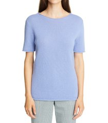 women's theory tolleree short sleeve cashmere sweater, size petite - purple