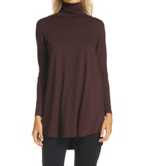 women's eileen fisher scrunch neck tunic, size large - brown