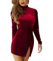 velvet, long sleeve, choker, side slit, slim, bodycon, party, red, mini dress