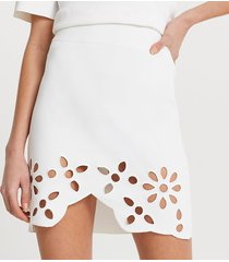 river island womens white cut work floral mini skirt