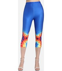 high rise spiral tie dye print capri leggings