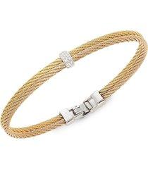 alor women's 18k rose gold & two-tone stainless steel diamond rope bangle bracelet