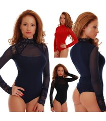 cotton women bodysuit turtle neck long sleeve thong s-3xl 1473 leotard body mesh