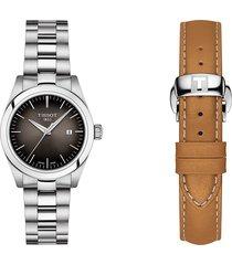women's tissot t-my lady bracelet watch & leather strap gift set, 29.3mm