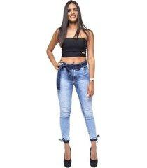 calça jeans cheris skinny manchada daya feminina