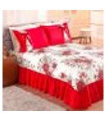 cobre leito casal vermelho floral estampado 3 peças 2,35m x 2,30m mariana