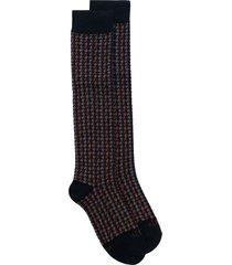 altea houndstooth print mid-length socks - blue