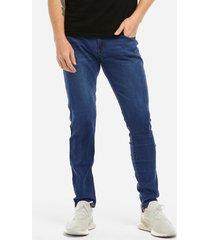 bolsillo lavado azul claro diseño lápiz delgado de cintura media para hombre jeans