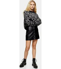 black popper faux leather mini skirt - black