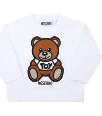 moschino white sweatshirt for babykids with teddy bear