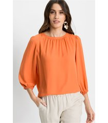 chiffon blouse met ballonmouwen