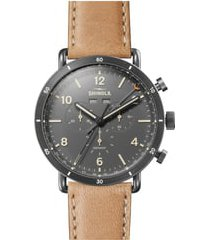 men's shinola the canfield chrono leather strap watch, 45mm