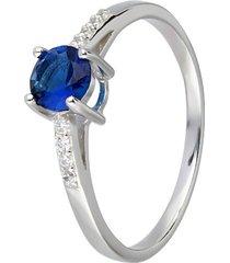 anello in argento con zircone blu per donna
