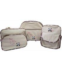 kit adventure baby mala maternidade com rodinhas com mochila urso panda bege