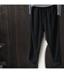 zanzea mujeres sólido pantalones básicos suelta más la altura de la cintura de los pantalones de algodón negro -negro
