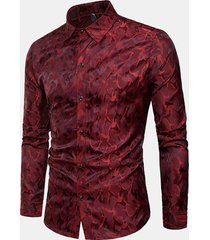 camo da uomo luminoso stampa camicia manica lunga monopetto stage nightclub casual camicia
