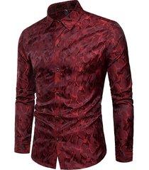 mens bright camo printing camicia maniche lunghe monopetto stage nightclub casual camicia