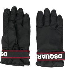 dsquared2 logo strap gloves - black
