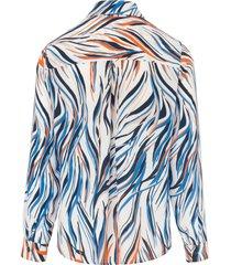 blouse met lange mouwen en zebra-impressies van peter hahn multicolour