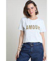 "blusa feminina ""amour"" animal print onça manga curta decote redondo cinza mescla claro"