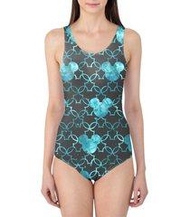 mouse ears watercolor aqua women's swimsuit