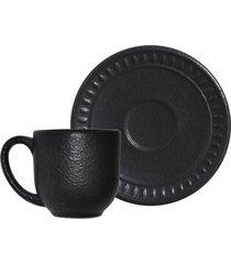 jogo de xãcaras de cafã© porto brasil 6pã§s pietra nera preto matte - preto - dafiti