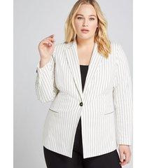lane bryant women's bryant blazer - single button 14p white stripe
