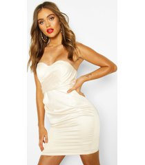 boohoo occasion satin cupped mini dress, ivory