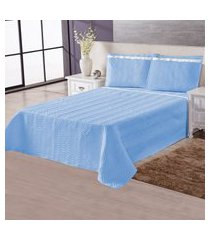 colcha cobre leito matelado casal essencial 3 peças azul