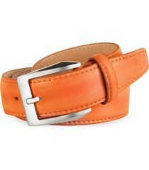 pakerson designer men's belts, men's orange hand painted italian leather belt