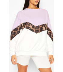 tall luipaardprint colour block sweater, lila