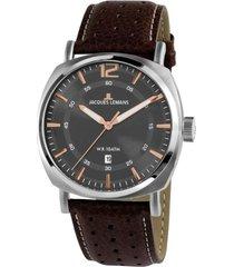 reloj 1-1943d masculino marron jacques lemans