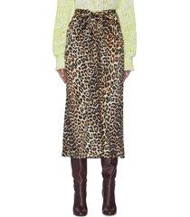 animal print silk satin skirt