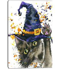 "designart halloween cat and witch hat contemporary animal art canvas - 30"" x 40"""