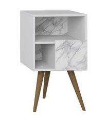 mesa de cabeceira retrô 1 porta branco carrara lilies móveis
