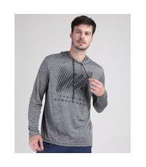 """camiseta masculina esportiva ace training"""" com capuz manga longa cinza mescla escuro"""""""