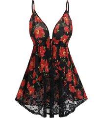 plus size floral print sheer lace babydoll set