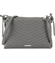 rebecca minkoff women's edie quilted leather crossbody bag - steel