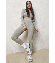 premium geribbelde leggings, taupe