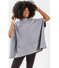 analee mock neck poncho - gray