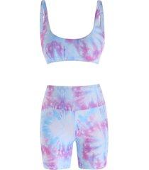 tie dye high waisted boyshorts bikini swimwear