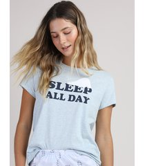 "pijama feminino ""sleep all day"" manga curta azul claro"
